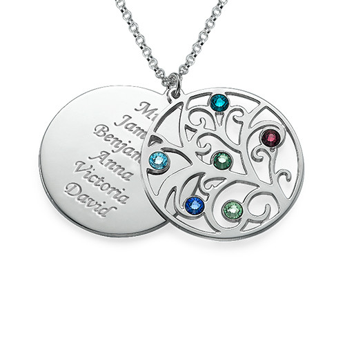 Family Tree Necklace - Filigree Birthstone