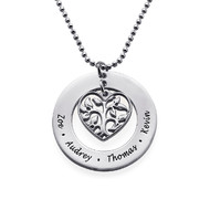 Family Tree Necklace in Silver with Heart