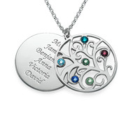 Filigree Family Tree Necklace with Birthstones