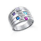 Five Stone Mothers Ring in Silver - Large Size