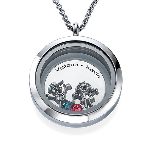 Floating Locket for Mum with Children Charms