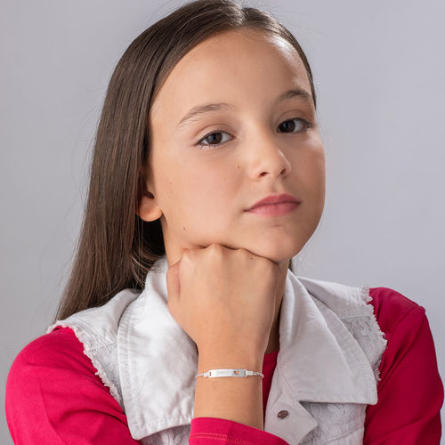 Girl's Silver ID Bracelet with Heart - 2