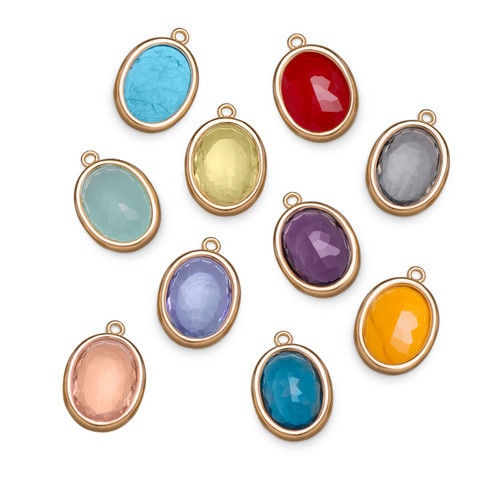 Glass Stones with Gold Plated Lining