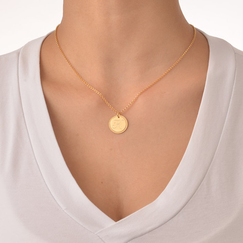 Gold Plated Circle Initial Necklace - 1