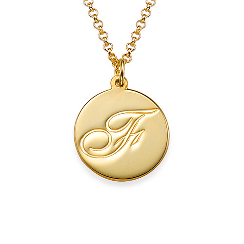 Gold plated initial pendant with script font mynamenecklace ie gold plated initial pendant with script font aloadofball Gallery