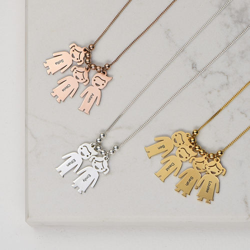 Gold Plated Mum Necklace with Engraved Kids Charms - 3