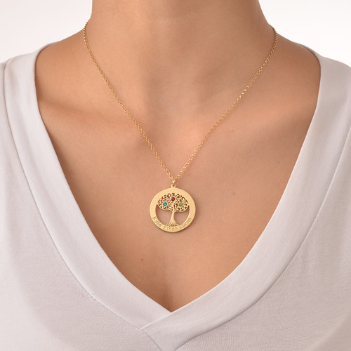 Gold Plated Tree of Life Necklace with Birthstones - 3