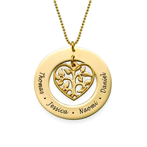 Heart Family Tree Necklace with Gold Plating
