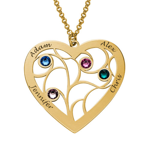 Heart Family Tree Necklace With Birthstones In Gold