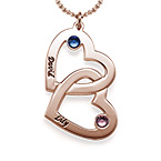 Heart in Heart Birthstone Necklace - Rose Gold Plated