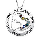Heart in Heart Birthstone Necklace for Mums