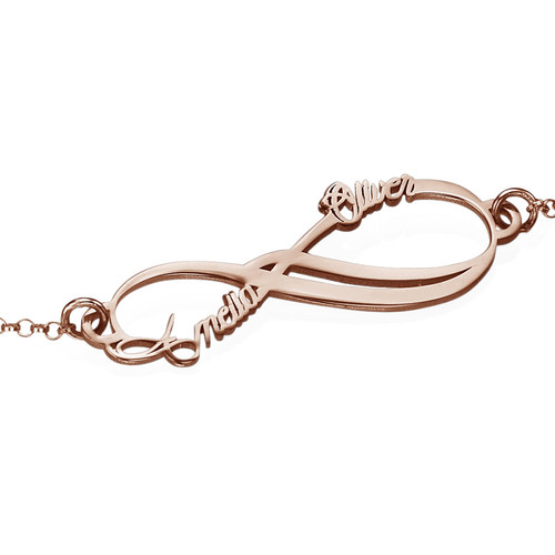 Infinity 2 Names Bracelet with Rose Gold Plating - 1