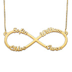Infinity 4 Names Necklace - 14ct Gold