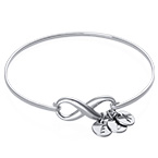 Infinity Bangle Bracelet with Initial Charms in Silver