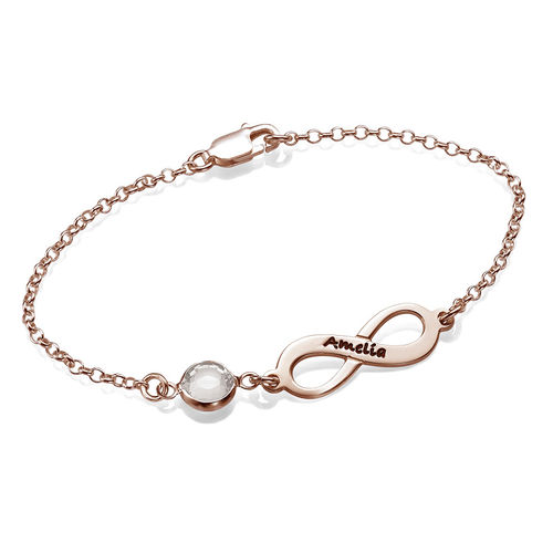 Infinity Birthstone Bracelet in Rose Gold Plated