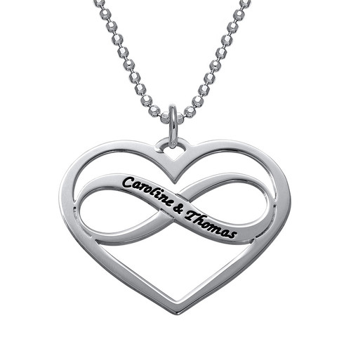 Infinity Heart Necklace with Engraving