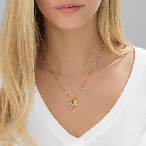 Infinity Necklace with Initial charm in Gold Plating - 3