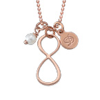 Infinity Necklace with Initial charm in Rose Gold Plating