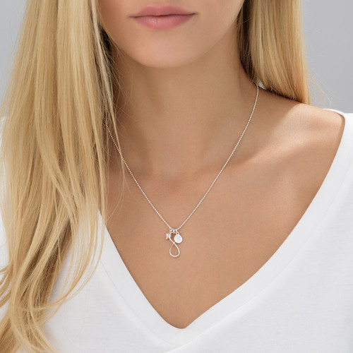 Infinity Necklace with Initial charm in Silver - 3
