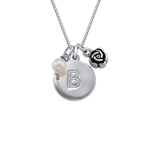 Initial Circle Necklace with pearl and rose charm in Silver