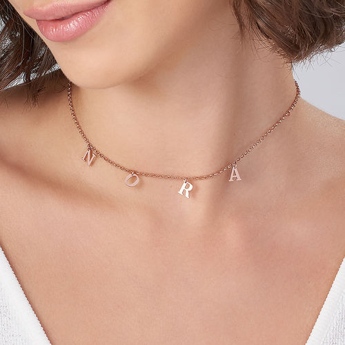 Name Choker with 18ct Rose Gold Plating - 3