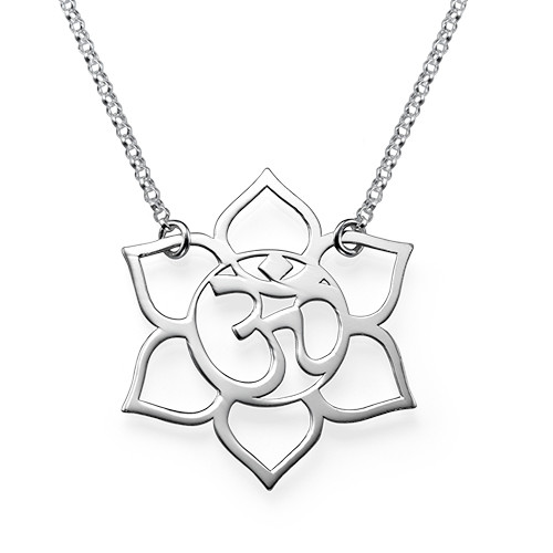 Lotus flower necklace with om symbol mynamenecklace ie lotus flower necklace with om symbol mightylinksfo