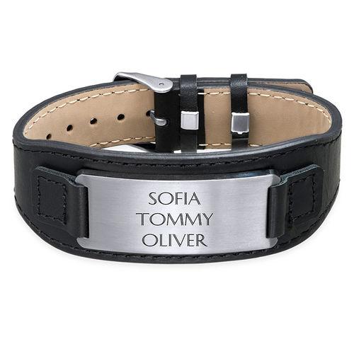 Men's ID Bracelet in Black Leather