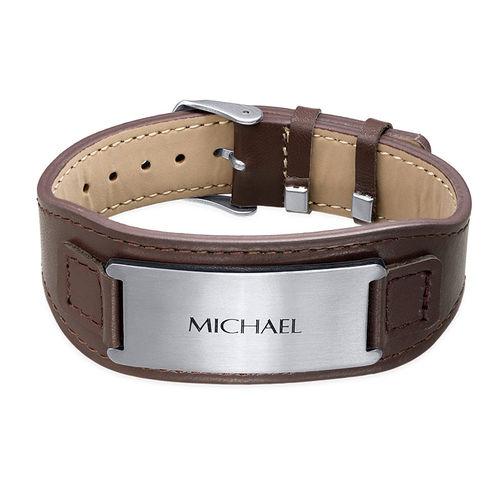 Men's ID Bracelet in Brown Leather - 1
