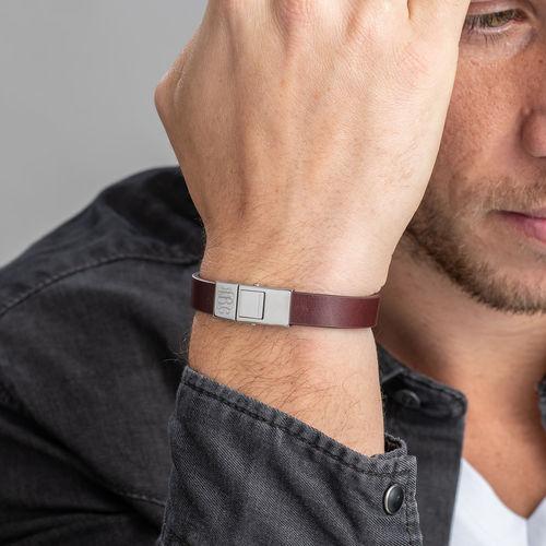 Men's Leather Bracelet with Monogram - 2