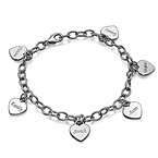 Mum Charm Bracelet with Personalised Hearts