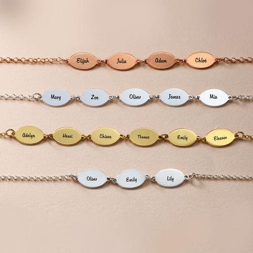 Mum Bracelet with Kids Names - Oval Design - 3