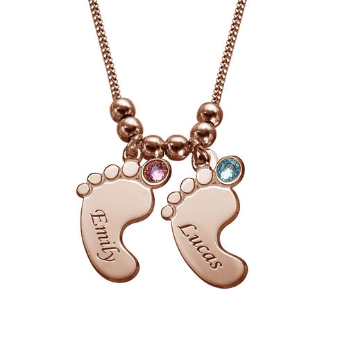 Mum Jewellery - Baby Feet Necklace with Rose Gold Plating - 2