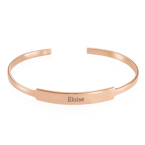 Open Name Bangle Bracelet in Rose Gold Plating