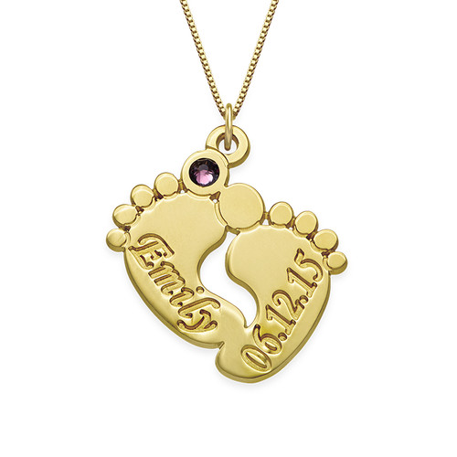 Personalised Baby Feet Necklace in 14ct Gold