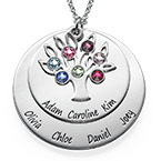 Personalised Family Tree jewellery - Mothers Birthstone Necklace