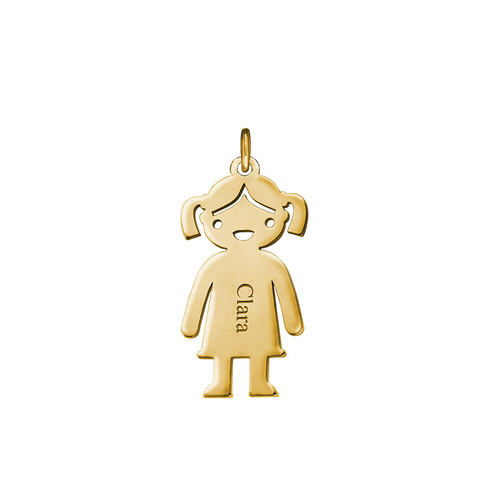 Personalised Girl Charm - Gold Plated