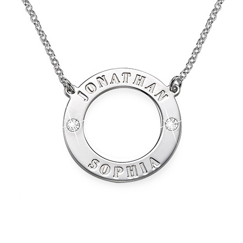 Personalised Silver Karma Necklace with Swarovski