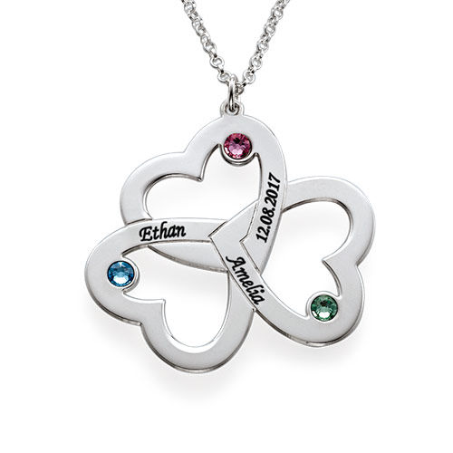 Personalised Triple Heart Necklace - 1