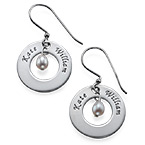 Personalised Earrings with Two Names & Birthstone