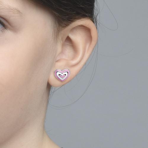 Pink Heart Earrings for Kids - 1