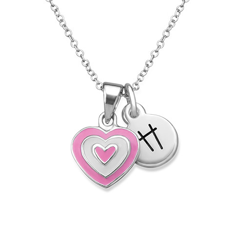 Pink Heart Necklace for Kids with Initial Charm