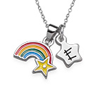 Rainbow Necklace for Kids with Initial Charm