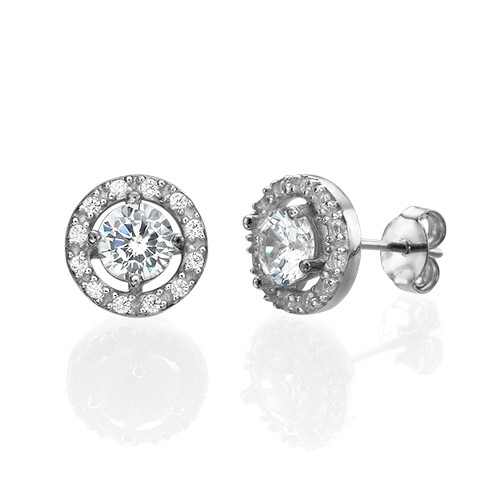 Round Cubic Zirconia Stud Earrings