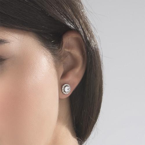 Round Cubic Zirconia Stud Earrings - 2
