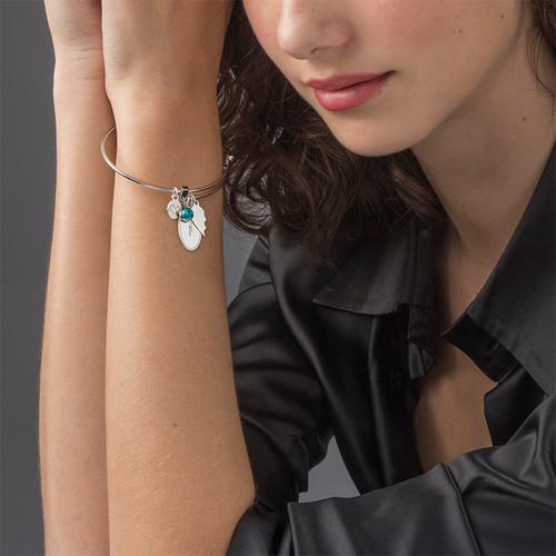 Set of 2 Friendship Bangle Bracelets with Charms - 4