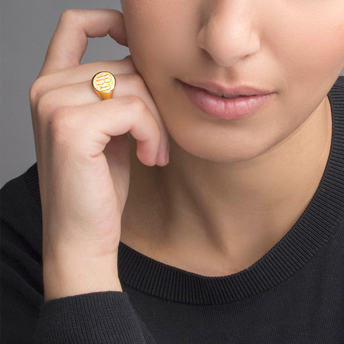 Signet Ring in Gold Plating with Engraved Monogram - 2