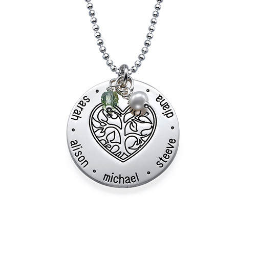 Silver Engraved Heart Family Tree Necklace