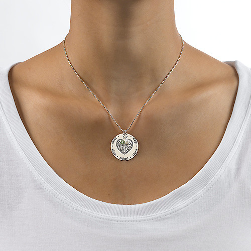 Silver Engraved Heart Family Tree Necklace - 1