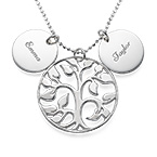 Silver Necklace with Engraved Discs