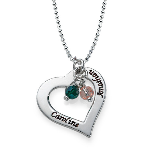 Silver Hollow Heart Necklace with Birthstones